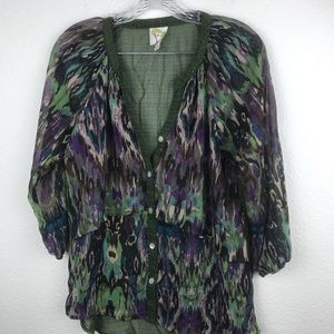 Anthropologie Blouse Green BOHO SZ S NWOT